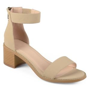 Shoes - Open Toe Ankle Strap Nude Chunky Heel